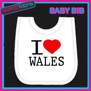 I LOVE HEART WALES WHITE BABY BIB EMBROIDERED - 160885437478